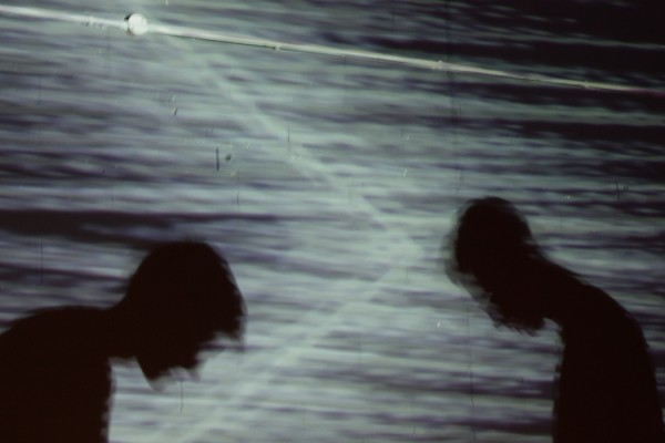 SOUNDKitchen September 2014 Formuls shadows of two performers against a projected background full of visual static