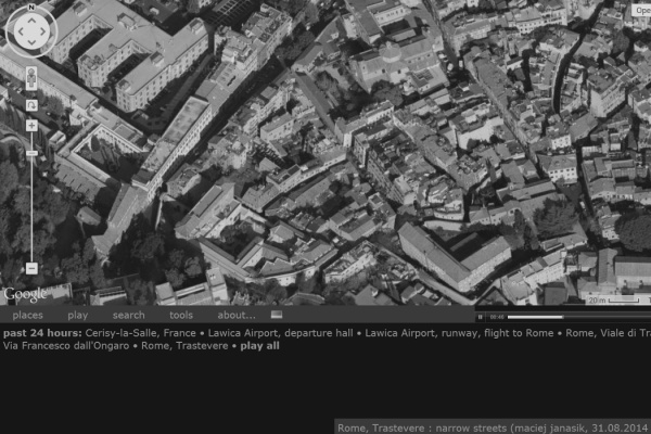 aporee soundmap showing streets of Rome with aporee menu and information