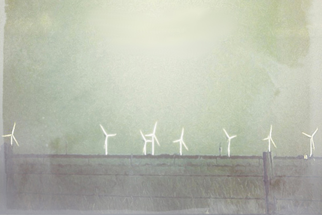 Giulio Aldinucci - Aer, white wind turbines against an aqua green sky