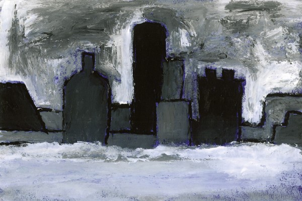 Morton Feldman, Two Pianos - painted cityscape in dark blues and greys