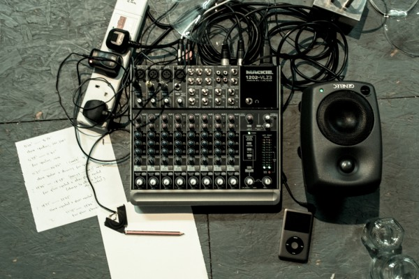 SOUNDKitchen November 2014, part of Samuel Rodgers' setup, mixing desk, speaker, audio player, pencil and paper
