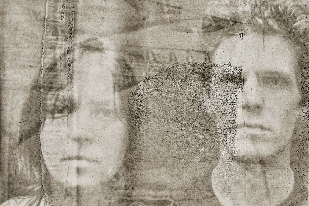 Tomaga, Futura Grotesk - faded sepia photo of a man and a woman