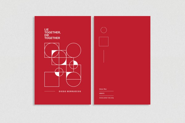Diego Berruecos - Lie Together, Die Together, pamphlet with bright red cover and white diagrammatic outlines of shapes