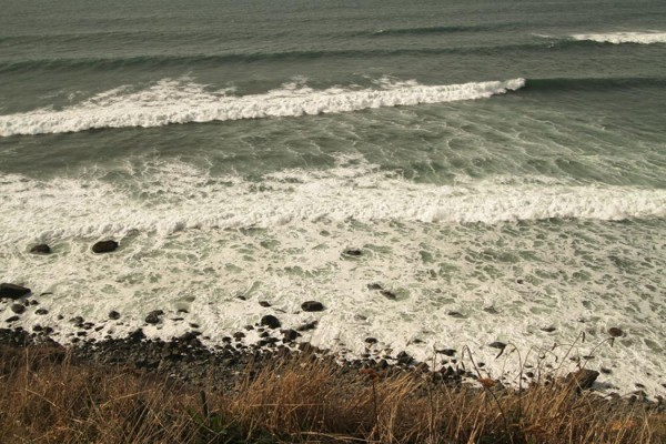 Untitled (coast) - shoreline seen from a hillside looking down