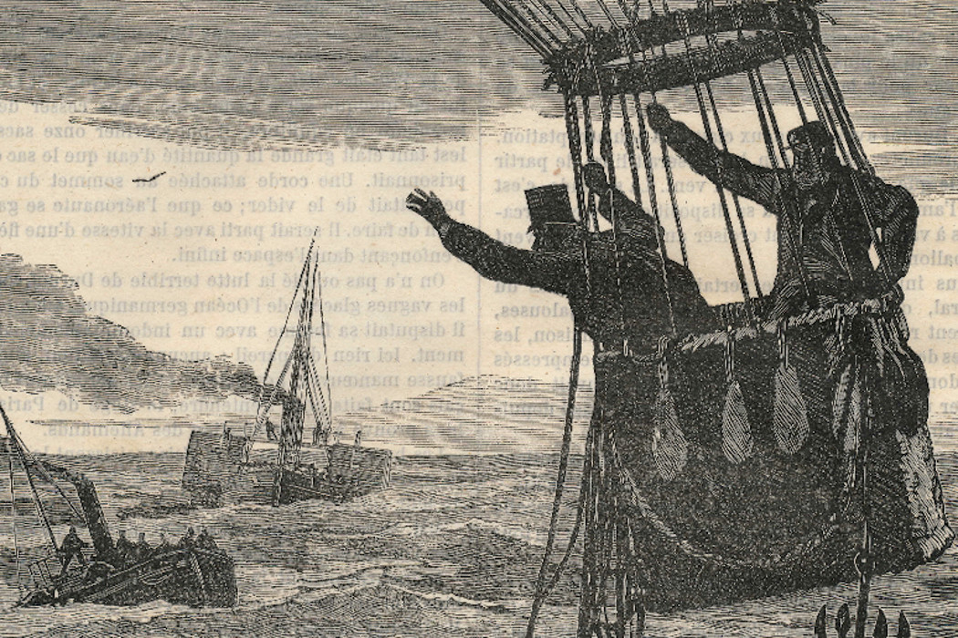 Hessien, Your Empire In Decline, old-fashioned illustration of two men waving at sinking ships from a hot air balloon
