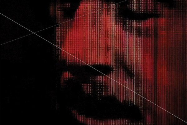 Mark Templeton + Kyle Armstrong - Extensions, dark red manipulated image of male face