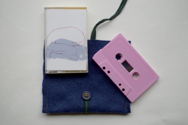 Stijn Huwels, pink cassette with blue felt pouch