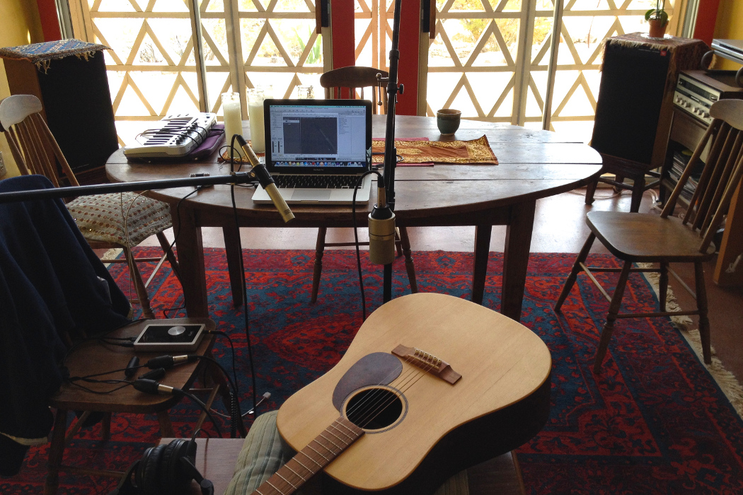 Danny Paul Grody 3, Harrison House interior with guitar, laptop and microphone