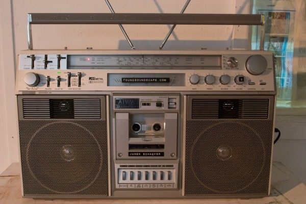 Audiograft 2015, Janek Schaefer's foundsoundscape installation (detail), old cassette and radio boombox