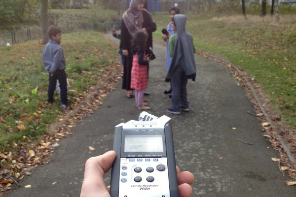 for-Wards music project - in the park with a portable audio recorder