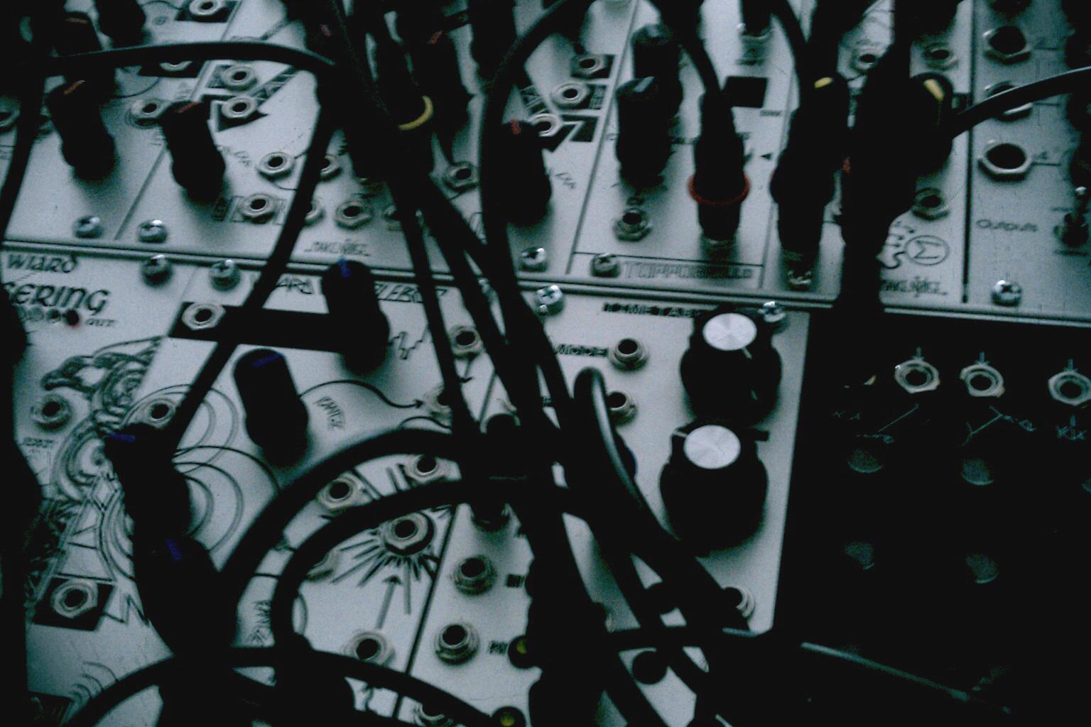 Nils Quak - Moiré / Braille, closeup of modular analogue synth