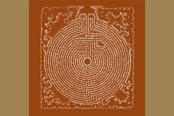d'incise - O esplendor natural das coisas e inferno, diagram of a labyrinth on brown background