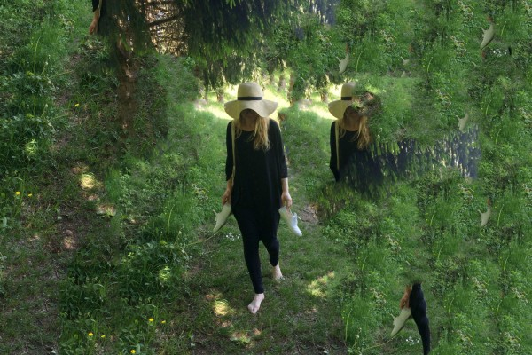 Félicia Atkinson - A Readymade Ceremony, artist in the forest with partial ghost-images of herself