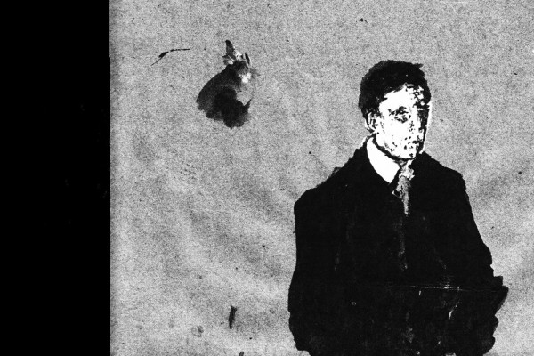 Grisha Shaknes - All this trouble for nothing, drawing of man in black suit against grey background