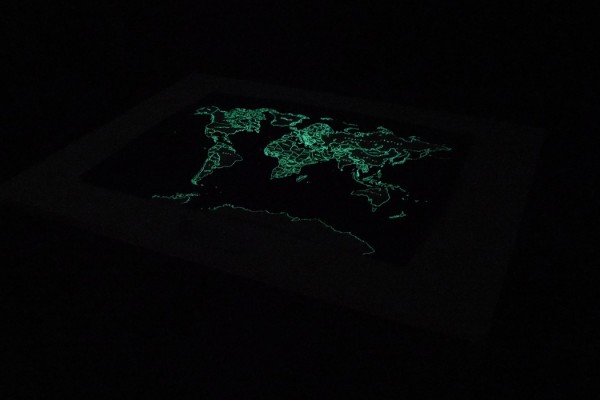 Ken Ikeda + Chihei Hatakeyama - Moss, glowing green world map in a pitch-black room