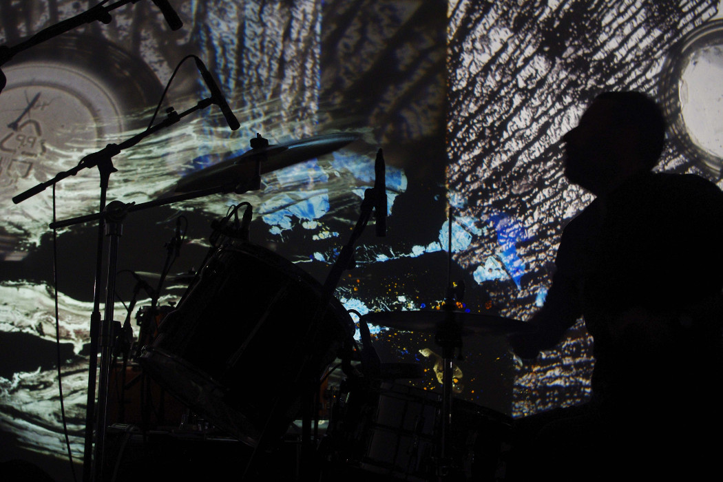Flatpack 2016, Mothwasp performing live, drummer with projected visuals