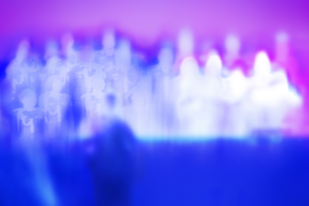 Tim Hecker - Love Streams, blurry purple and pink image of people on a stage