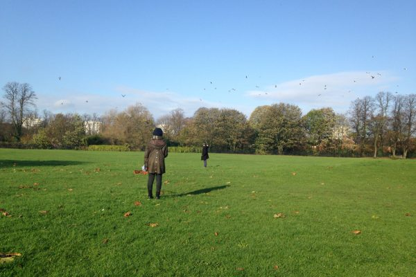 For-Wards PledgeMusic campaign, two people recording in a green field with blue sky