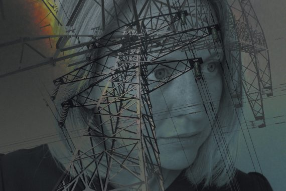 Emily Hall - Folie a Deux, headshot of the composer overlaid with an electricity pylon
