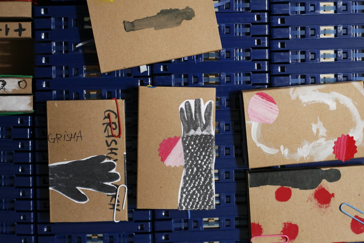 Grisha Shaknes - Ghosts, box of blue cassettes with various handdrawn covers