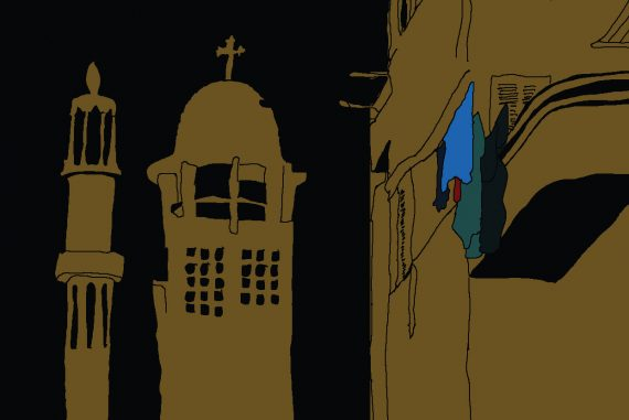 Tiny Portraits - Streets, illustration of Cairo street scene against black background, church spire and mosque minaret