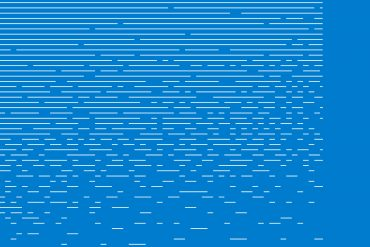 Machinefabriek - Crumble, rows of white lines gradually disintegrating on a bright blue background