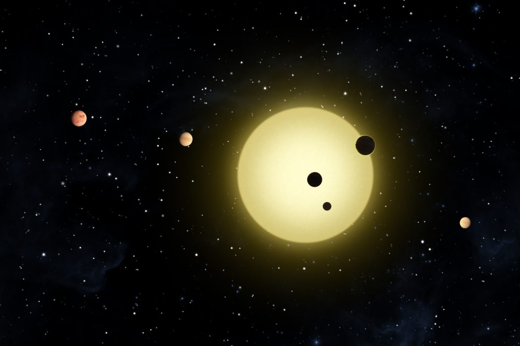 An artist's conception of Kepler 11 star system, showing the star and its six planets