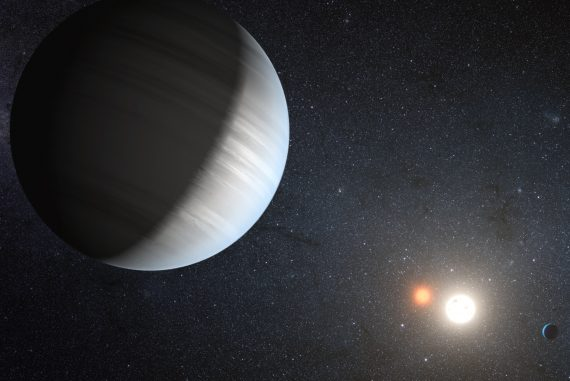 An artist's conception of the Kepler 47 star system