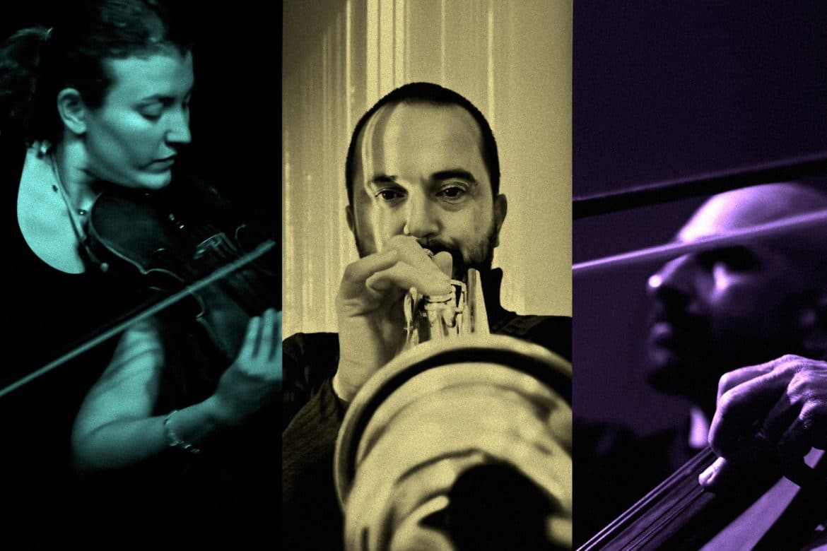 Cremaschi, Kepl, Vrba - Resonators, portraits of the three artists performing their instruments