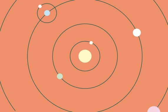 Machinefabriek - Astroneer, concentric rings depicting the orbital patterns of a star system against a tomato background