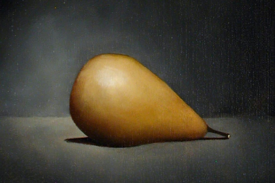 Linda Catlin Smith - Drifter, painting of a shiny yellow pear against a black background