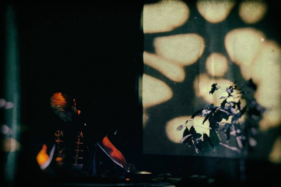 Mytrip performing in a dark room with a small tree and shadows on the wall behind him, photo by Michal Bukolt.