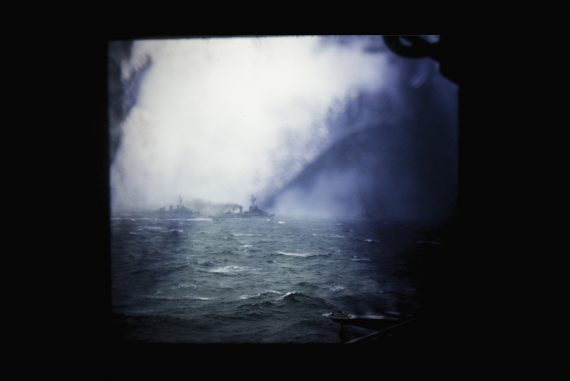 Olivia Block - Olivia Block, smoke-obscured photo of a battle at sea.