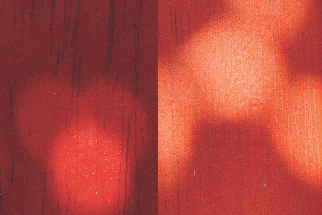 fraufraulein - heavy objects, light patterns on a dark red wooden floor.
