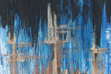 Chaines - The King, abstract painting that resembles jagged blue mountains with three brown towers.