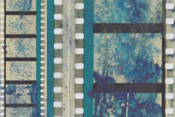Grisha Shakhnes - ARCS, blue-tinted closeup of celluloid film