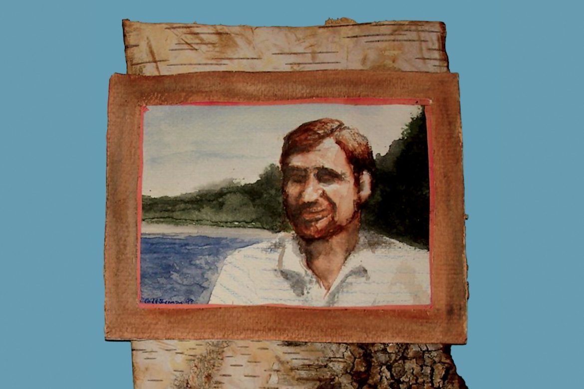 Jason Lescallet - The Pilgrim, painting of the artist's father standing on a shore, blue background.