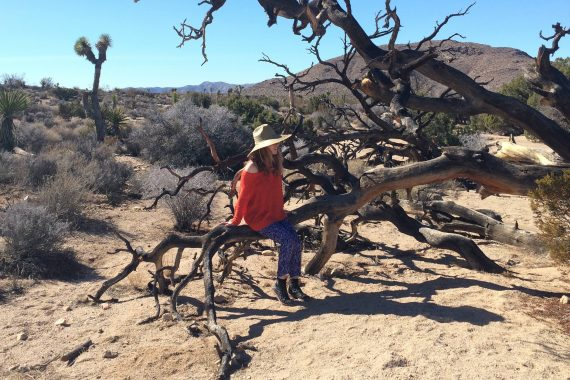 Félicia Atkinson - Coyotes, artist wearing a wide-brimmed hat sat on a tree branch in the desert.