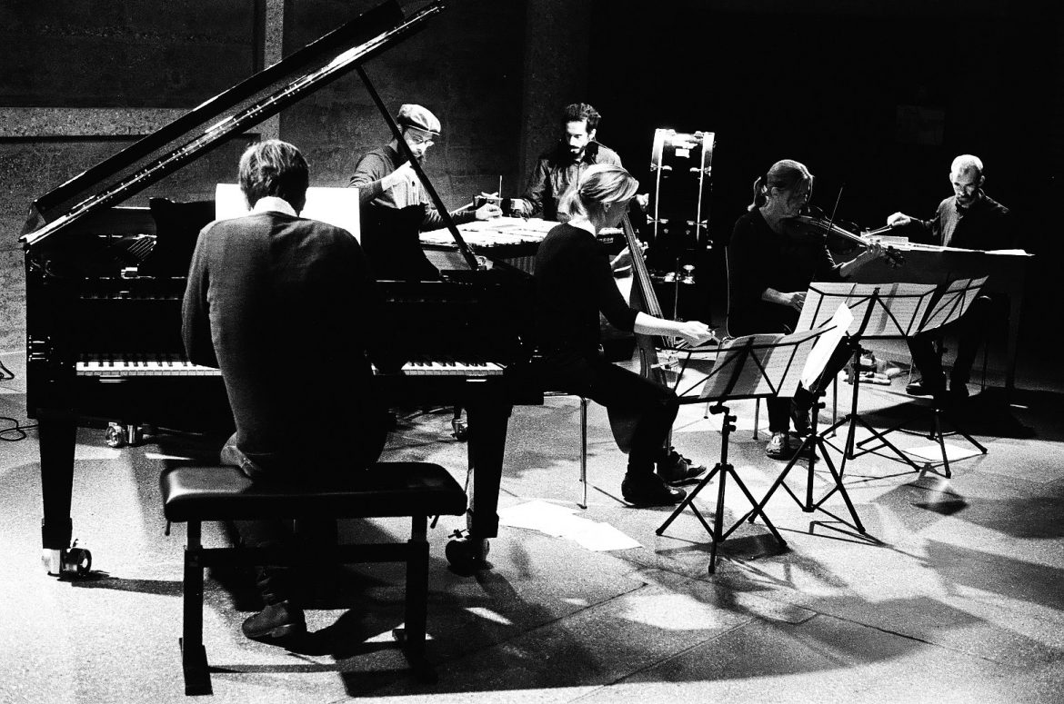 Magnus Granberg, Cyril Bondi, d'incise - ensemble playing as part of residency at Fondation l'Abri, Geneva.