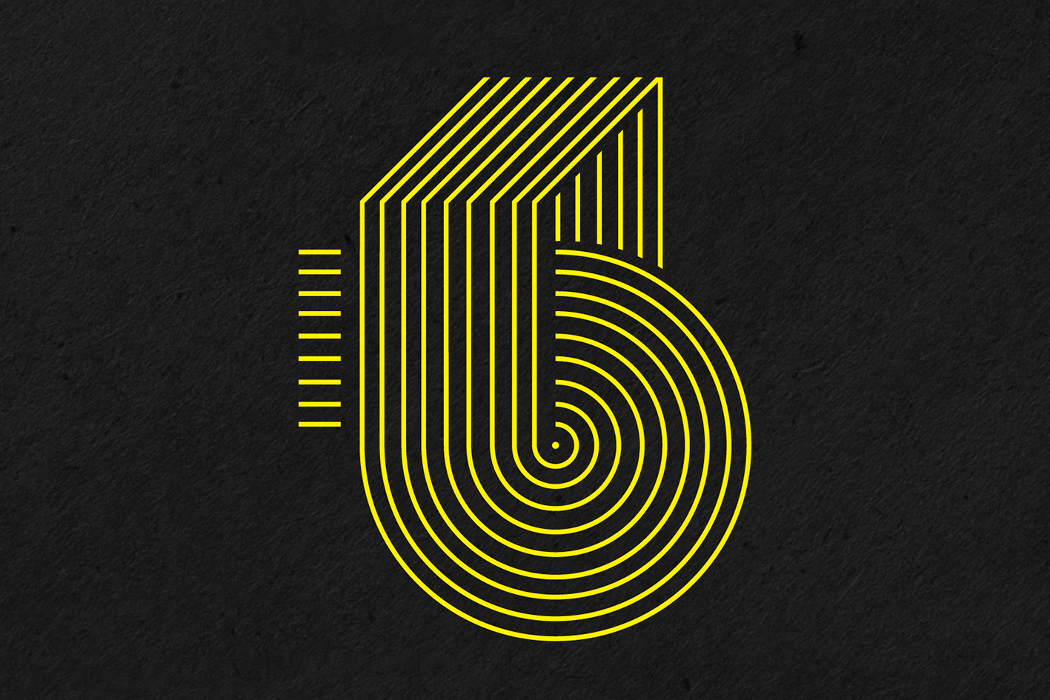 Derek Rogers Visual Echoes cover stylised letter 'b', yellow on black background