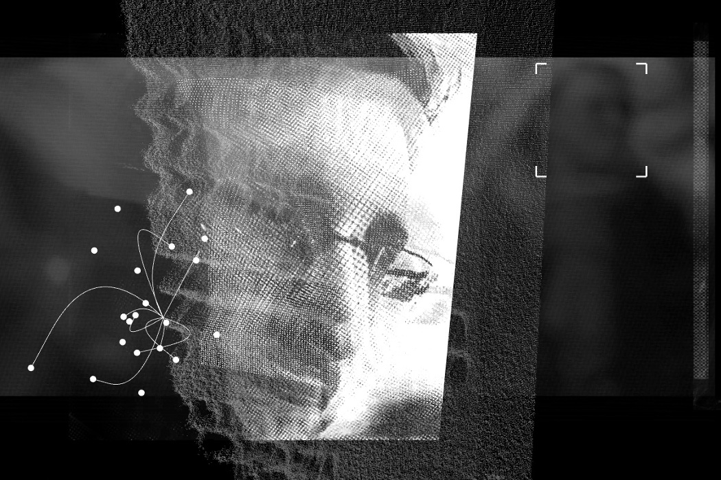 Matthew Collings, A Requiem for Edward Snowden, projection of Snowden's face superimposed with abstract patterns and shapes