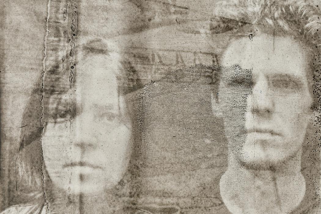 Tomaga, Futura Grotesk - faded sepia photo of a man and a woman