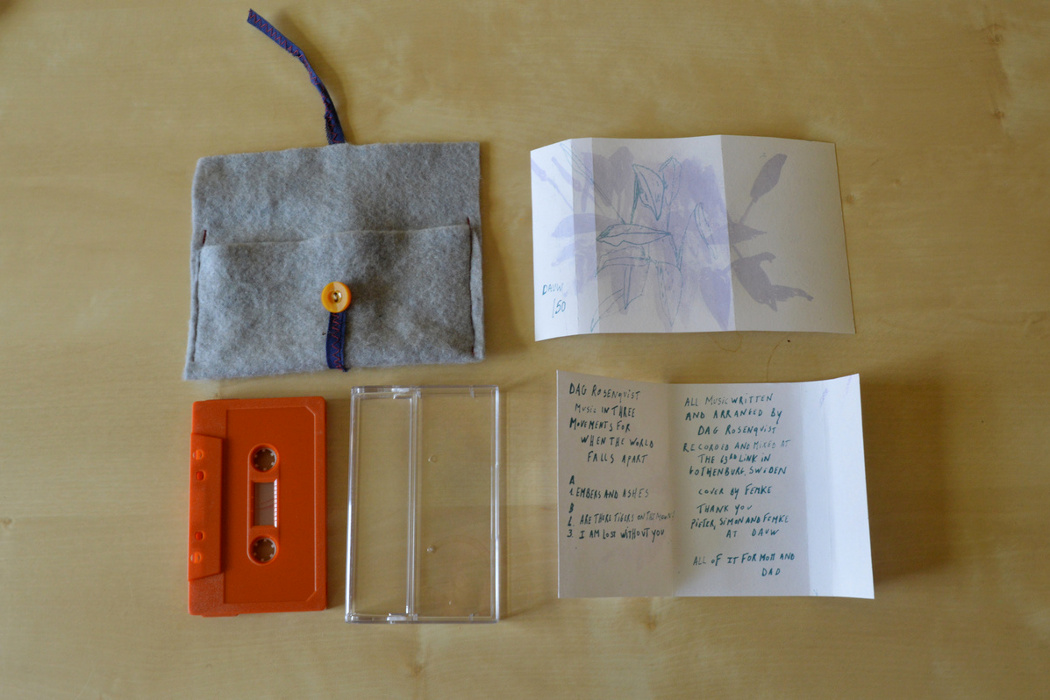 Dag Rosenqvist - Music in Three Movements, packaging of cassette with grey felt sleeve