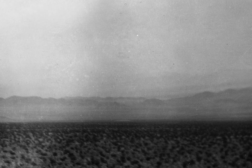 Sacred Ground, hazy black-and-white desert