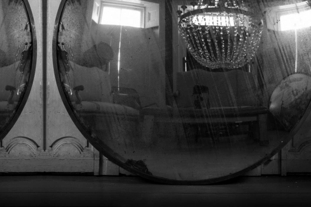 Stephan Mathieu - Nachtstücke, black-and-white mirror reflecting domestic interior