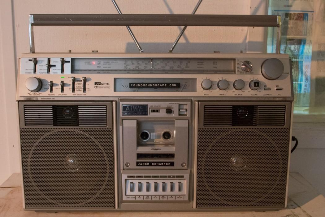Audiograft 2015, Janek Schaefer's foundsoundscape installation (detail), old cassette and radio boombox