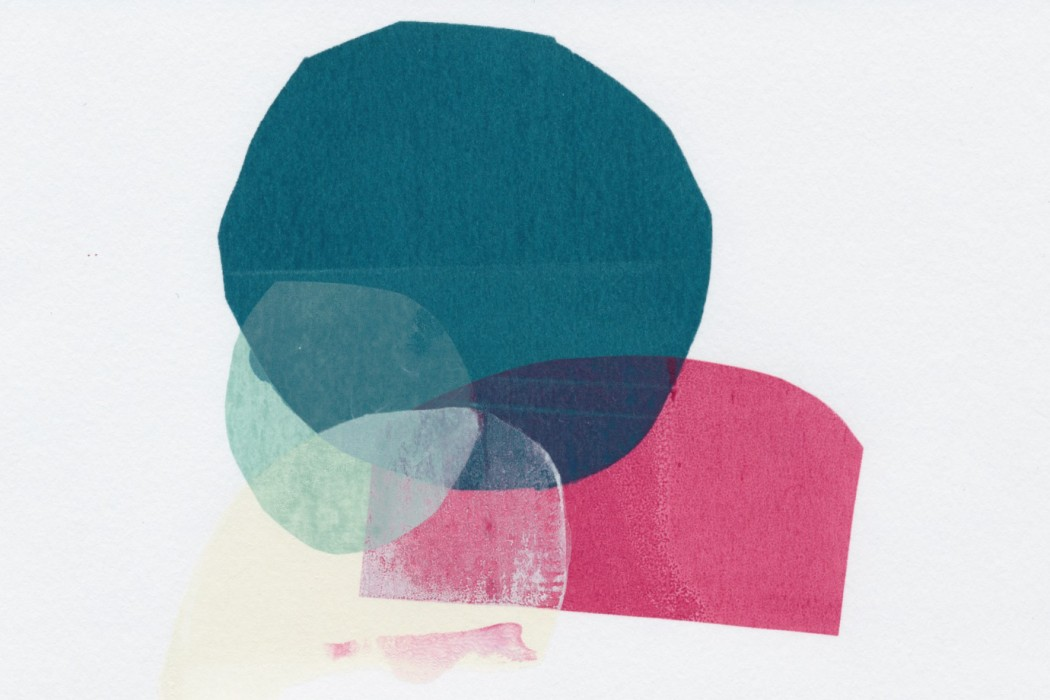 Ruhe - Chamber Loops, colourful tissue paper shapes overlaid on a white background