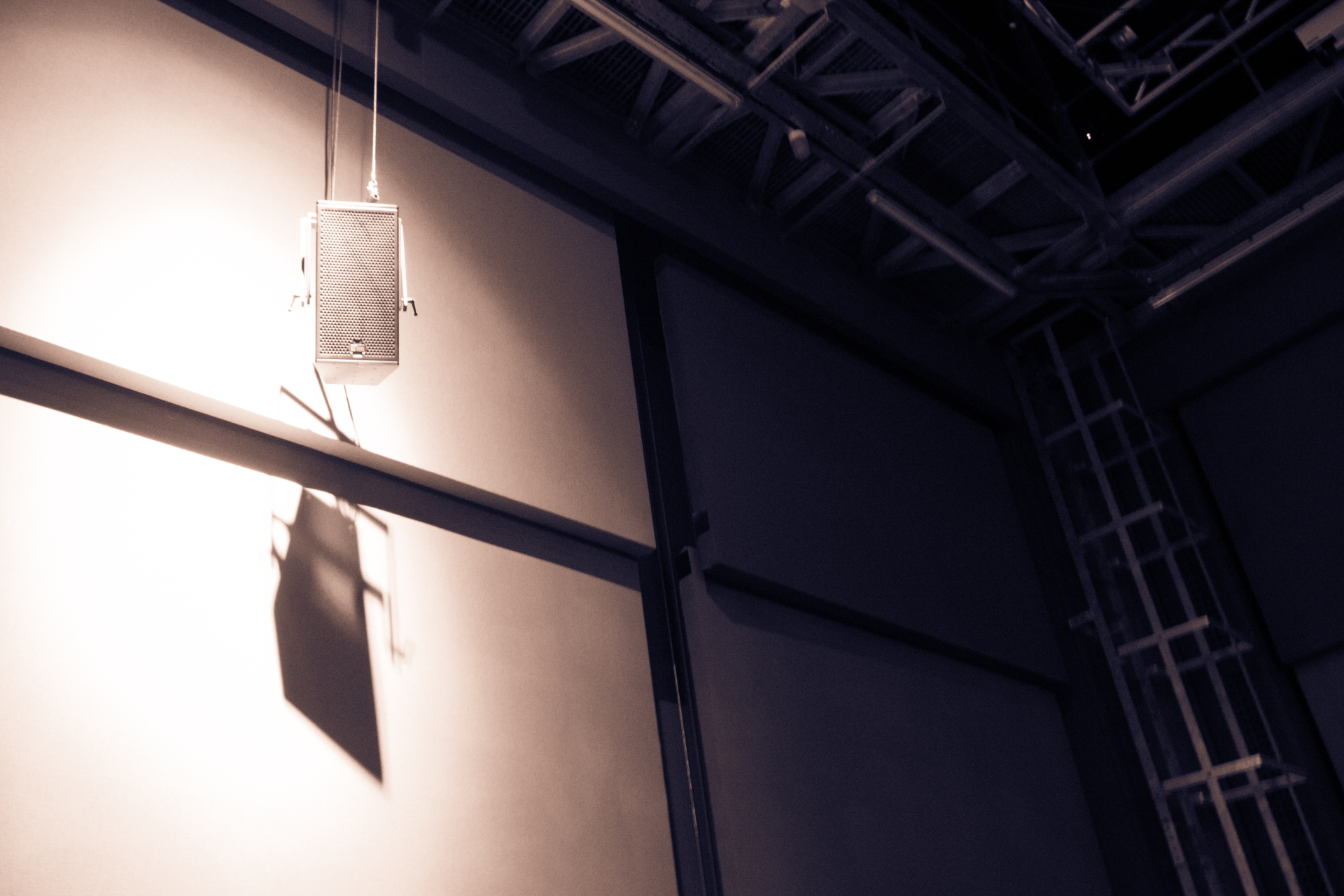 Sonorities 2015, speaker hanging in Sonic Lab at SARC
