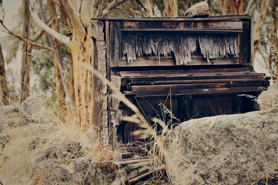 Internecine: The Vanished Musicians, abandoned upright piano in a forest