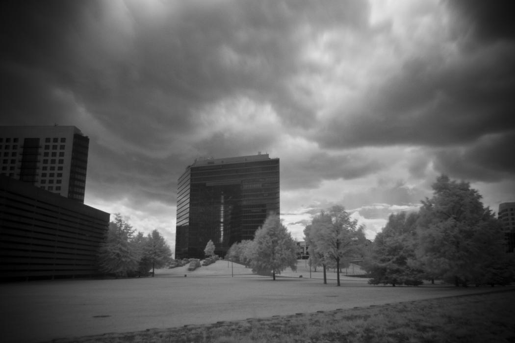 Cem Güney, five compositions - black and white photo of Dusseldorf by Sebastian Dooris